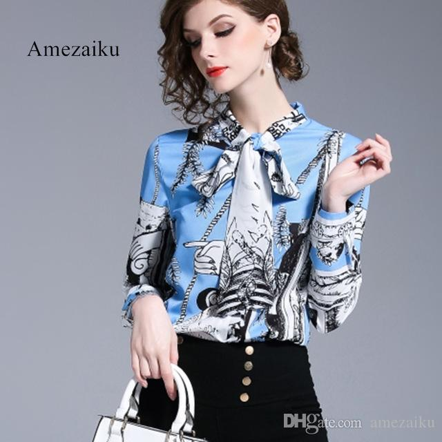 3597d134763f26 2019 2018 Blouse Women Pullovers Shirt Printed Vintage Design Long Sleeves  Office Work Top Elegant Style New Bow Tie Up Neck From Amezaiku, $23.34 |  DHgate.