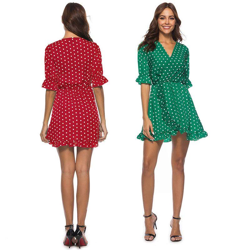 0133e88d9 Compre Lunares Vestido De Manga Corta Amarillo Verde Con Cuello En V ...