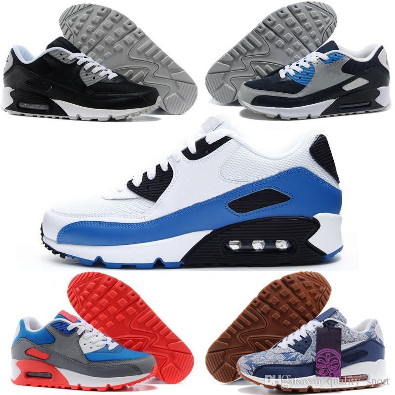 Nike air max 90 2018 Venta caliente Zapatillas 90 Ez zapatos casuales para calidad superior 90s negro blanco rojo gris azul verde hombres zapatos de