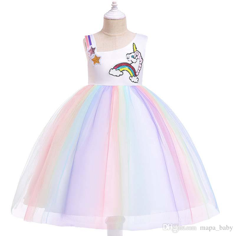 34a428498ef 2019 Unicorn Girls Dresses Sequins Cosplay Princess Dresses Baby Girl Party  Birthday Dress Girls Clothing Lace Kids Single Shoulder Tutu Dresses From  ...