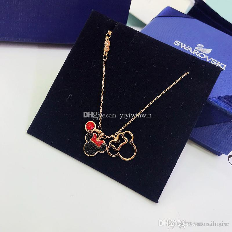 a0a37ae6a00 Wholesale Ladies Necklace Womens Jewelry Luxuries Lady 925 Silver Swan  Mickey Pendants Gold Chain Pendentif Ladies Collier Femme Original Box  Silver Chains ...