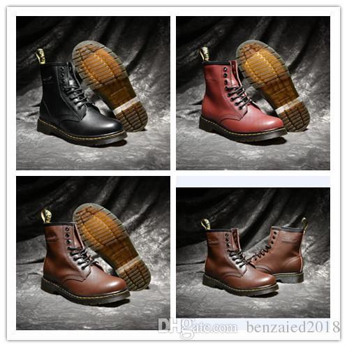 ebb1aec963232 2019 AAA Calidad Reino Unido Clásico 1460 Martens Botas De Invierno Martin  Botas Negro Marrón Vino Rojo Mujeres Moda Para Hombre Zapatos Al Aire Libre  ...