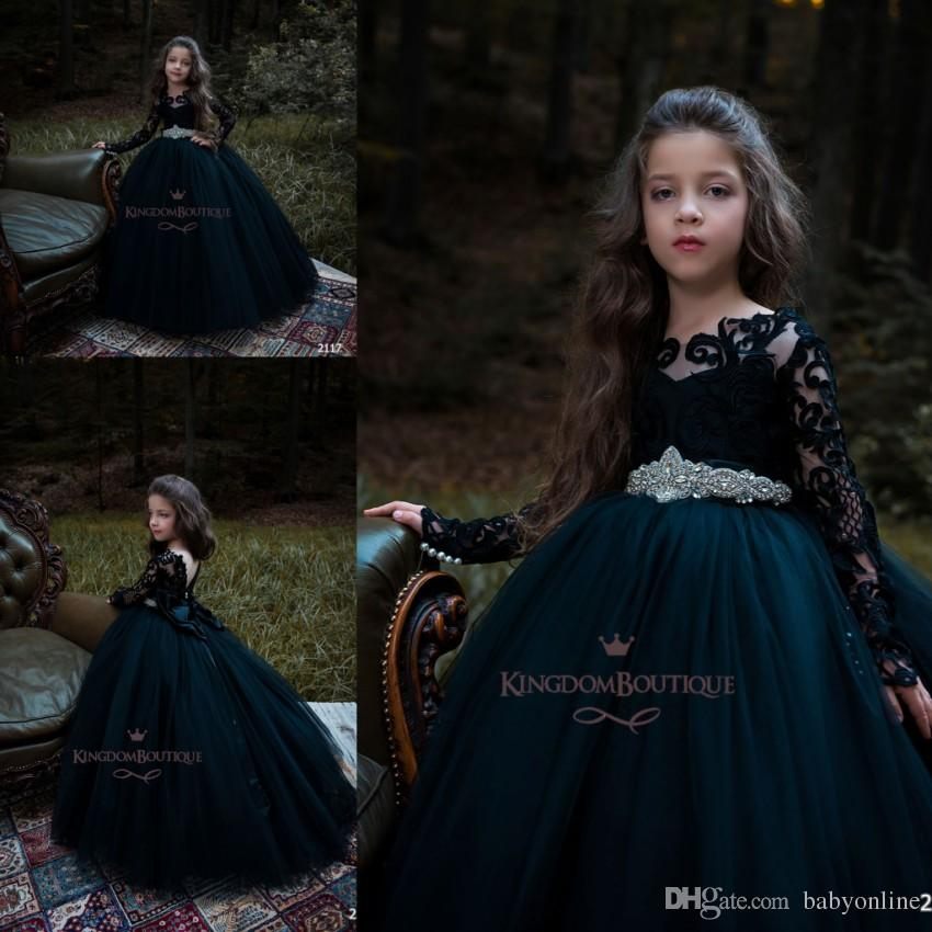 ff5315f11241 Gothic Black Ball Gown Girl S Pageant Dresses With Beads Sashes ...