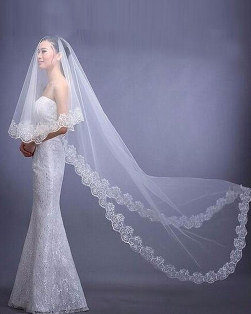 One Layer Appliques Edge Veil For Adult Women Wedding Veils For Wedding Formal Occasion Bridal Veil