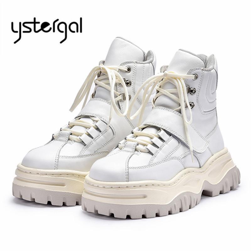 1aa56a91641 Compre Ystergal Blanco Mujer Botines Mujer Zapatillas Con Cordones  Plataforma Creepers Martin Boots Mujer Zapatos Planos Caucho A  125.79 Del  Hadfunn ...