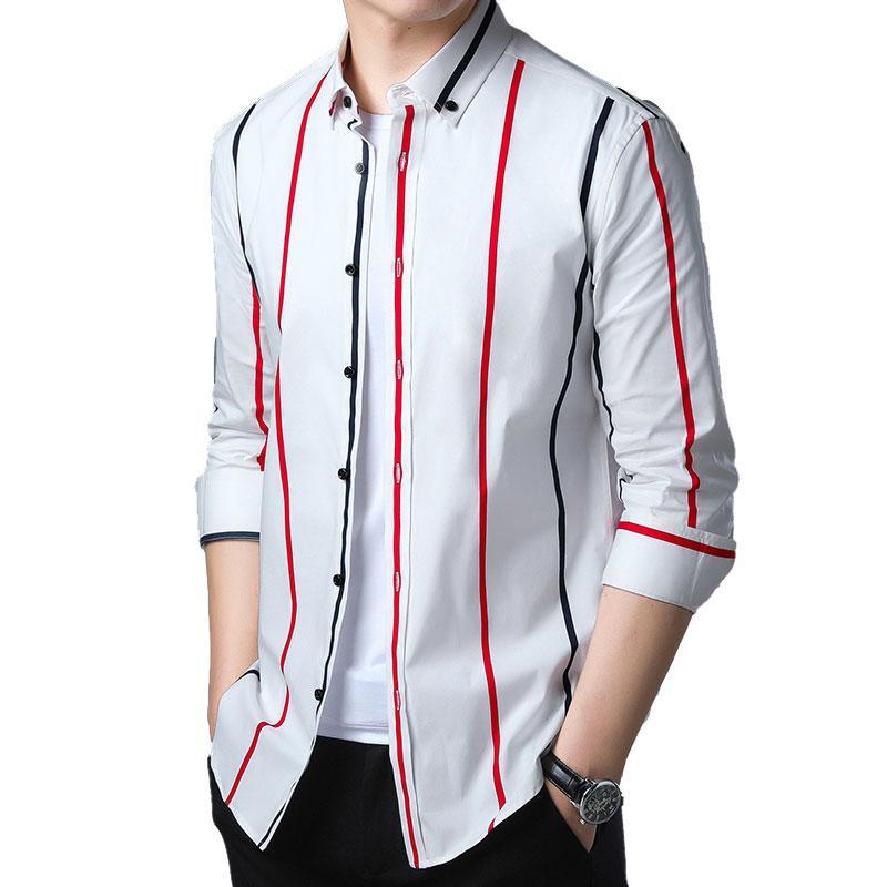 216335d4a85ef Satın Al 2019 Yeni Uzun Kollu Moda Çizgili Erkekler Rahat Gömlek Kolay  Bakım Düğme Aşağı Yaka Sosyal Marka Giyim Pamuk Erkekler Gömlek, $53.46 |  DHgate.