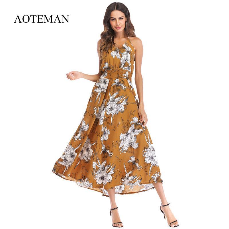32bbb0a71 Compre AOTEMAN Summer Dress Women 2019 Fashion Sexy Print Floral Vintage  Vestido Largo Ladies Elegante Boho Beach Party Vestidos Vestidos A  41.2 Del  ...
