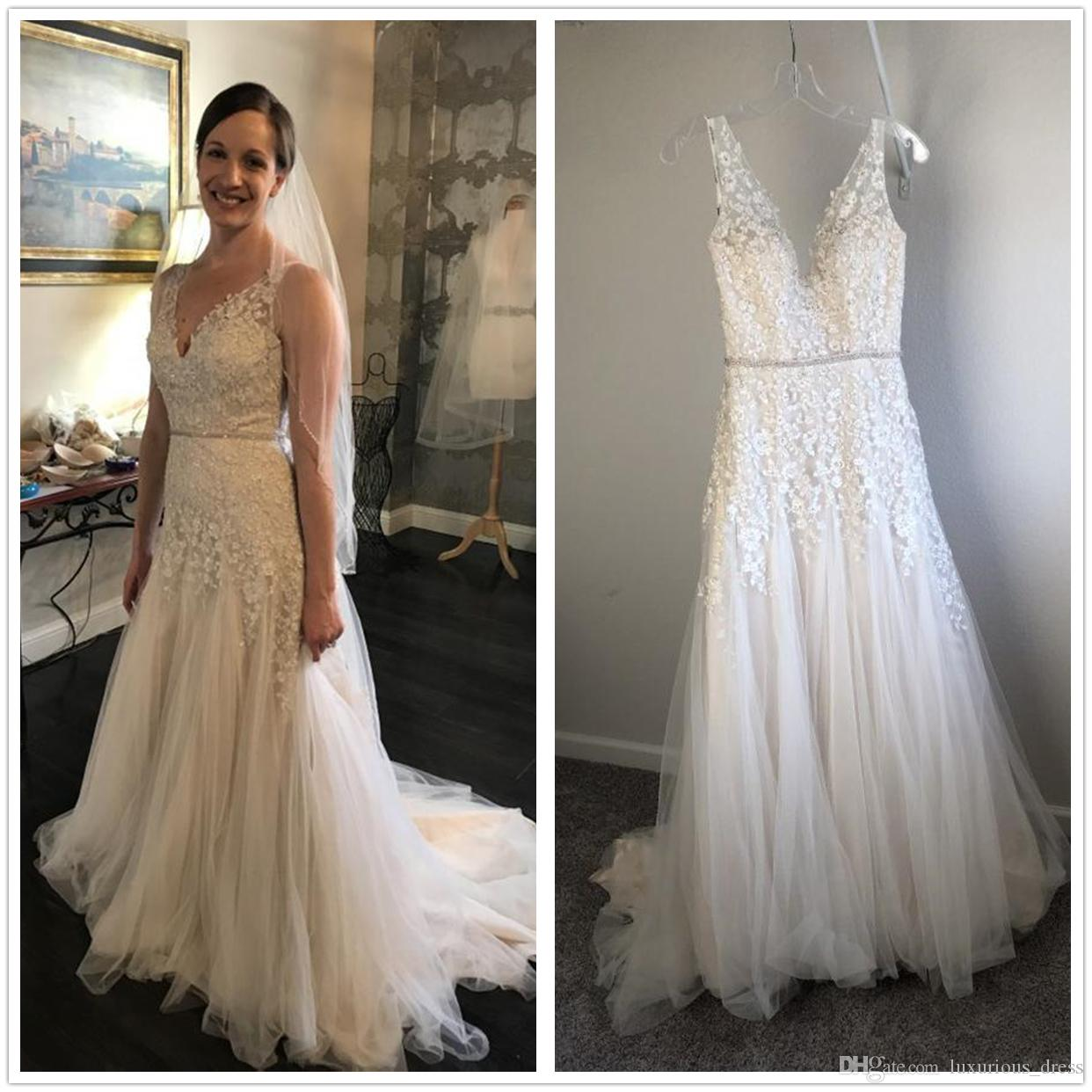 3546252b2 Discount Vintage Bohemian Wedding Dresses Cotton Crochet Lace V Neck Love  Spell Full Length Country Boho A Line Beach Bridal Gown Real Pictures  Wedding ...