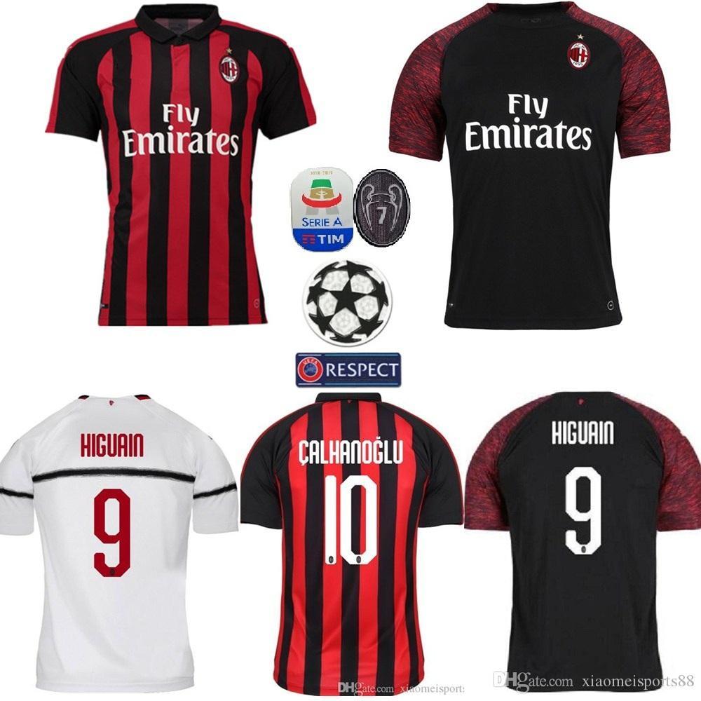 a815b04db47e2 2019 AC Milan Home Soccer Jersey 18 19 AC Milan Camiseta De Fútbol  Personalizada   19 BONUCCI   10 CALHANOGLU   9 Uniforme De Fútbol HIGUAIN  Ventas Por ...