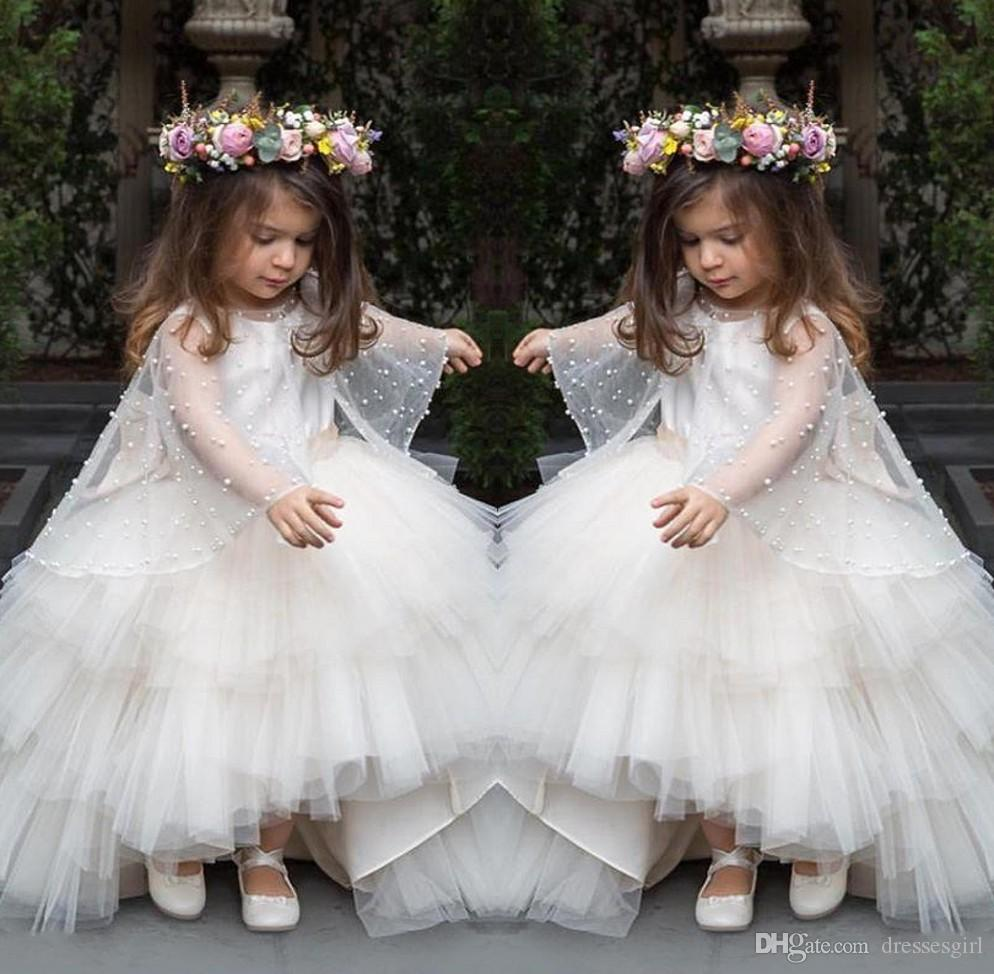 New Layers Flower Girl Dresses Hi Lo Train First Communion Dress ...