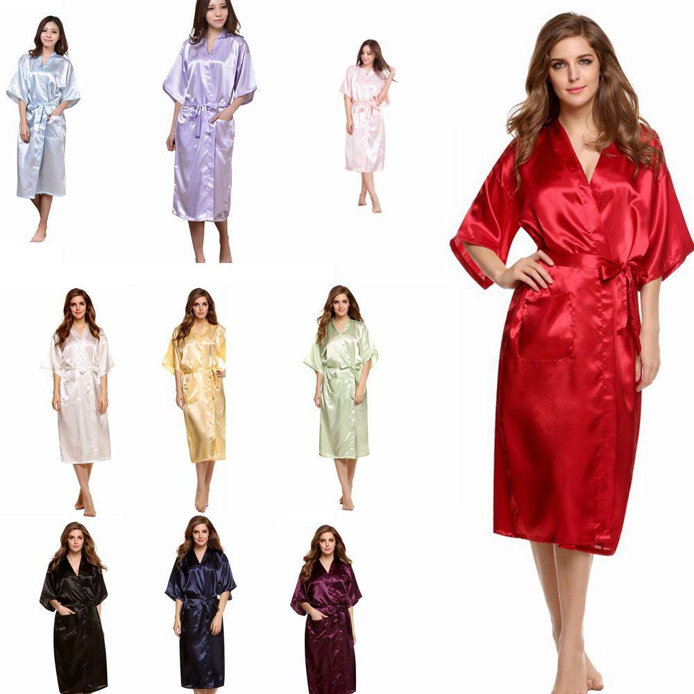 258bc5840f 10styles Women s Solid Kimono Robe Nightgown Casual Fashion Lady Girl  V-Neck Sleepwear Bridesmaids Wedding Party Night Gown Pajamas FFA1403 Kimono  Robe ...