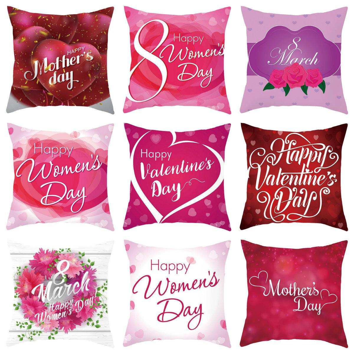 Happy Mother's Day Pillows Case Letter Print Pillow Cover 45*45CM Sofa Nap Cushion Covers Warm Home Decoration TTA490