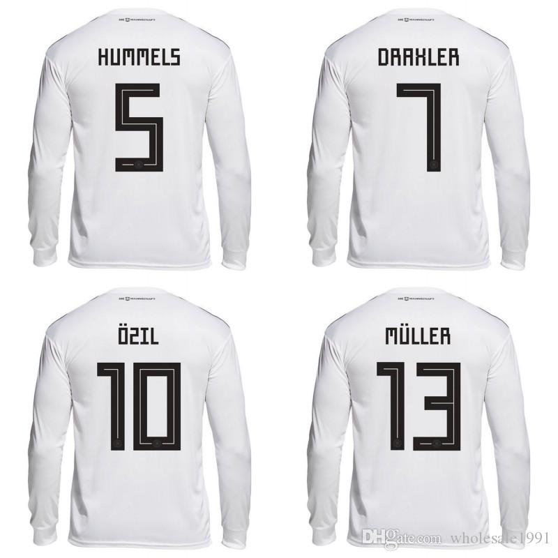 online retailer c1f59 78925 2018 World Cup Long Sleeve Soccer Jersey #8 KROOS #10 OZIL Soccer Uniform  #11 REUS #13 MULLER Full Sleeve Football Shirt