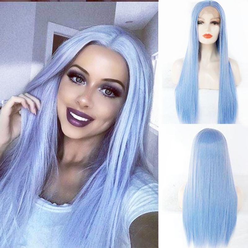 Natural Pastel Blue Hairstyle Long Straight Wigs Heat Resistant Fiber Women Hair Light Blue Glueless Synthetic Lace Front Wig Free Shipping