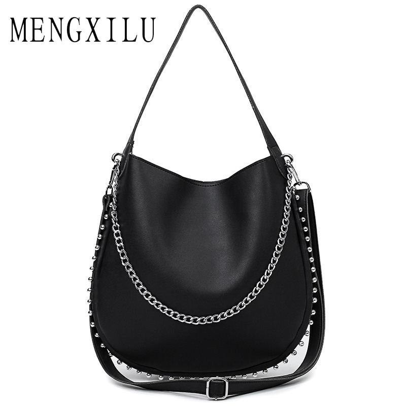 17fe0985c8 2019 Fashion MENGXILU 2018 Chains Women S Handbags High Quality Leather Bag  Ladies Big Casual Totes Bolsas Female Hobos Double Shoulder Bags Italian  Leather ...