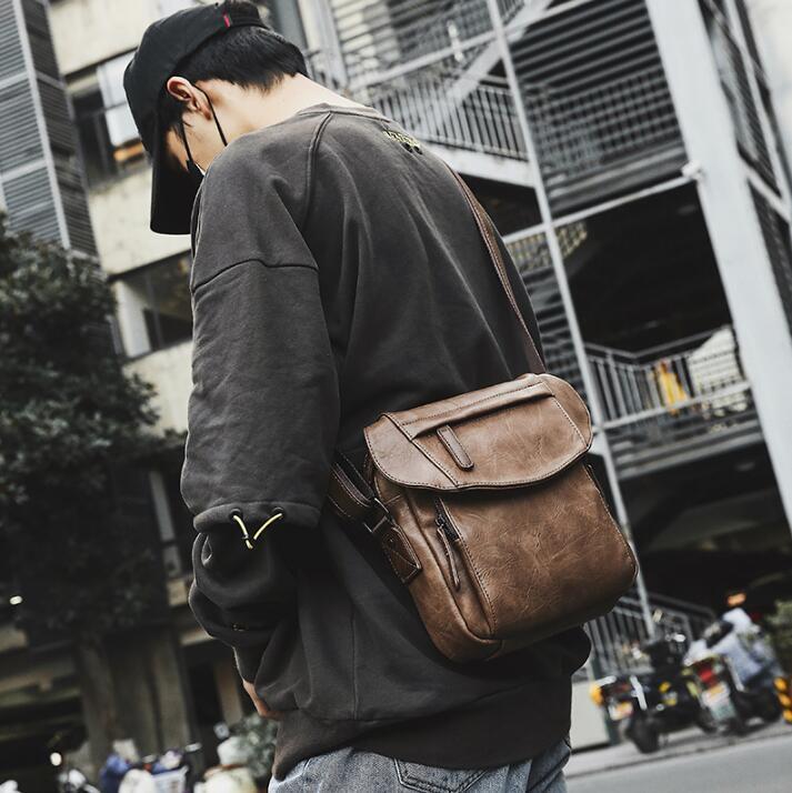 dda545814d5b Wholesale Brand Men Handbag New Vintage Leather Slung Shoulder Bag Simple  Joker Backpack Outdoor Travel Leisure Leather Shoulder Bag Purses On Sale Men  Bags ...