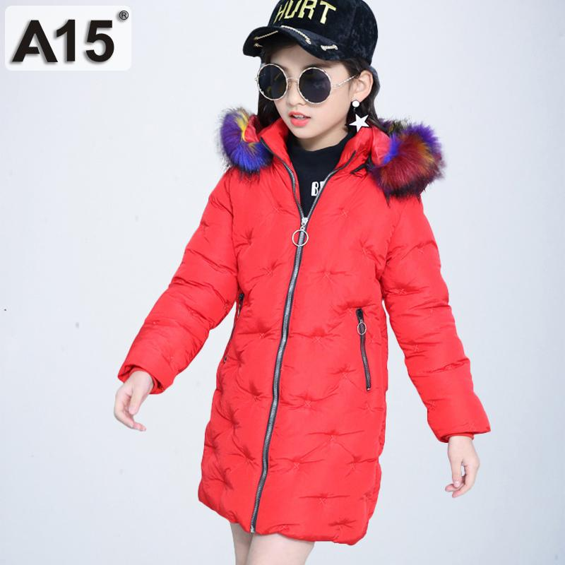 modern and elegant in fashion super cheap compares to color brilliancy A15 2019 girls winter coats hooded with fur toddler clothes park size 4 6 8  children jackets for girls kids outerwear 10 12 Year