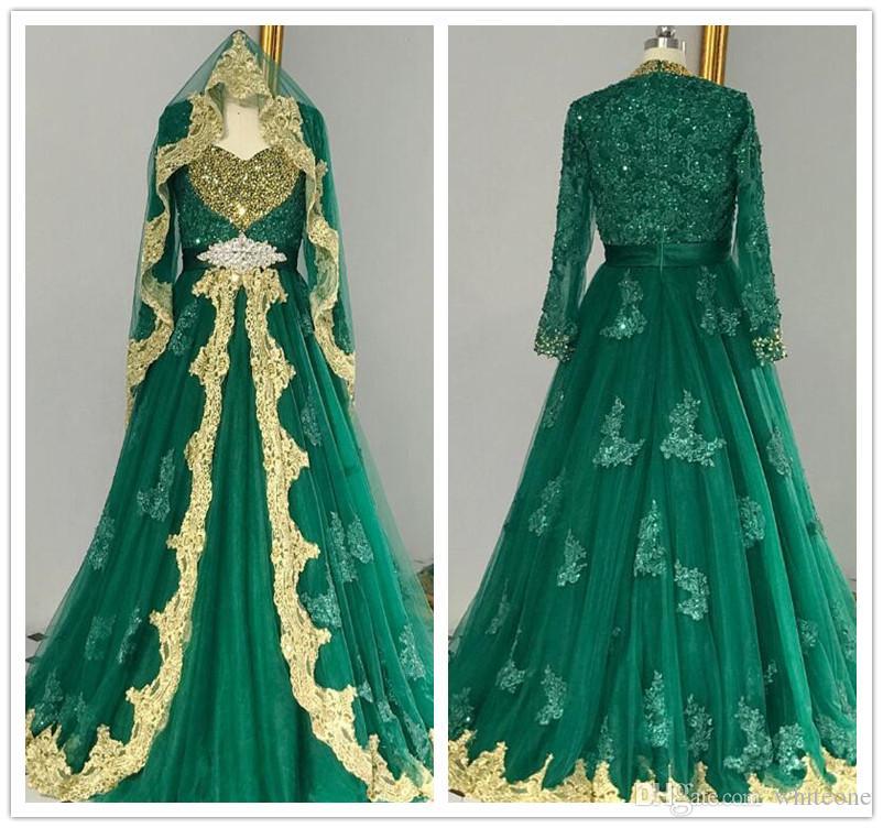 Arabic Muslim Evening Dresses With Gold Lace Applique Dubai Long Sleeve Evening  Gowns Turkish Women Custom Made Vestido De Noche Plus Size Evening Gowns ... 5ac642fe0b7a
