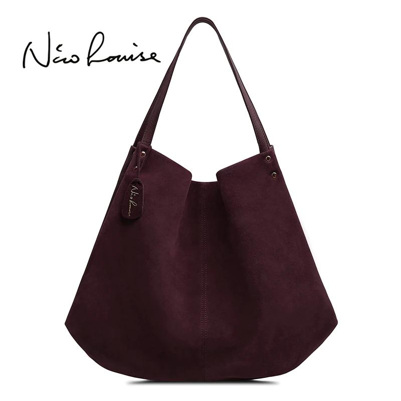 707c4131d57c 2018 New Women Real Split Suede Leather Hobos Bag Designer Female Leisure  Large Shoulder Bags Solid Color Travel Casual Handbag