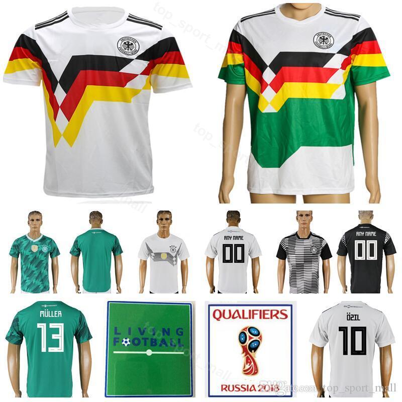 Compre Homens 1990 1980 Camisa De Futebol Do Vintage Alemanha Camisa De  Futebol Kits 2018 Copa Do Mundo 10 Matthaus 18 Klinsmann 3 Podolski 11  Rummenigge 13 ... ab9e34eb6a4ac