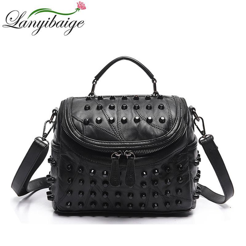 26c638b1fc1 Mode Vrouwen Messenger Bags Zwart Klinknagel Lederen Schoudertas Sac A Main  Crossbody Tassen Voor Vrouwen Designer Handtassen Large Handbags Black  Leather ...