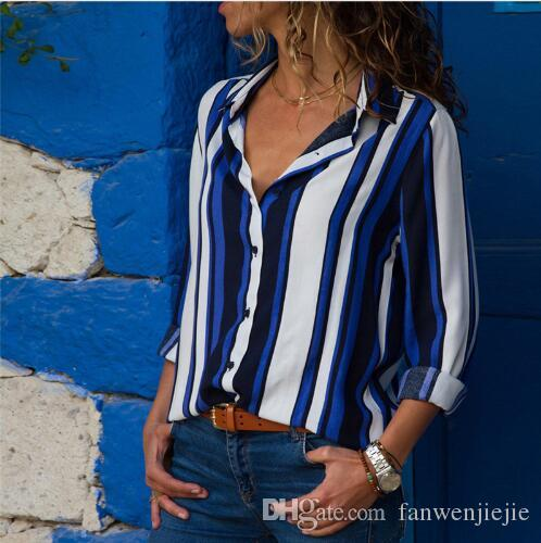 362bd111b14ed1 2019 Women Blouses 2018 Fashion Long Sleeve Turn Down Collar Office Shirt  Chiffon Blouse Shirt Casual Tops Plus Size Blusas Femininas From  Fanwenjiejie, ...