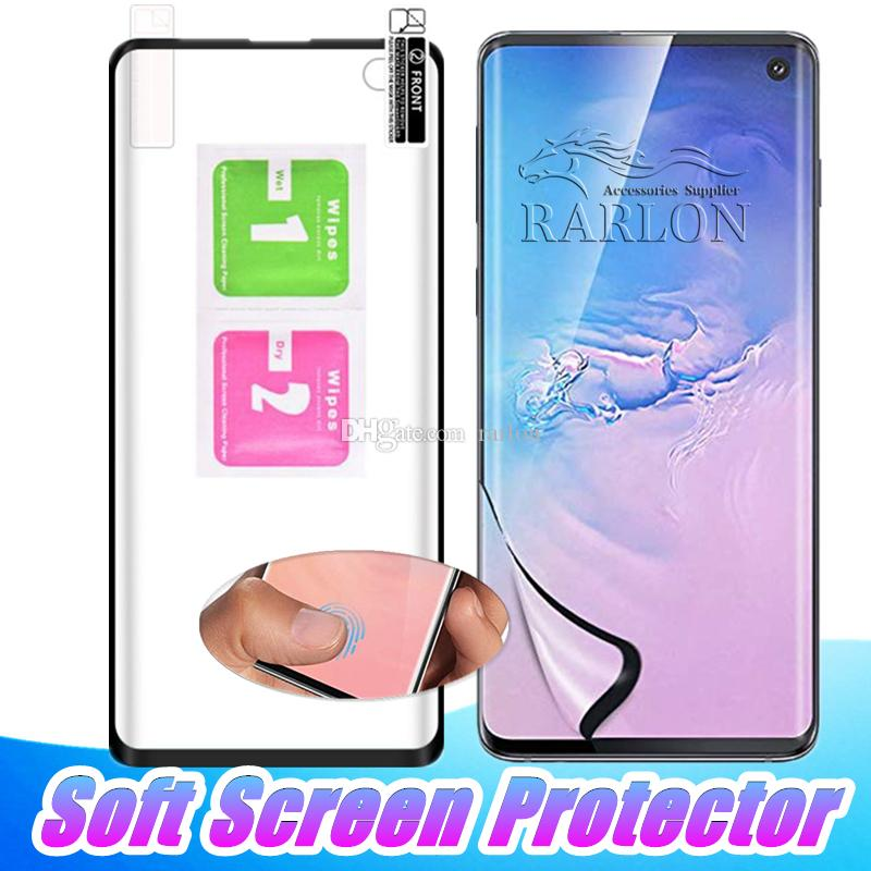Para Galaxy S10 5G S10 E Soft PET Clear Film Guard 3D Curved Full Front Protector de pantalla Curve para Samsung S9 S8 Plus Note 8 9 Huawei P30 PRO