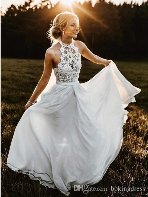 Discount 2019 Summer Country Wedding Dresses High Neck Top Lace ...