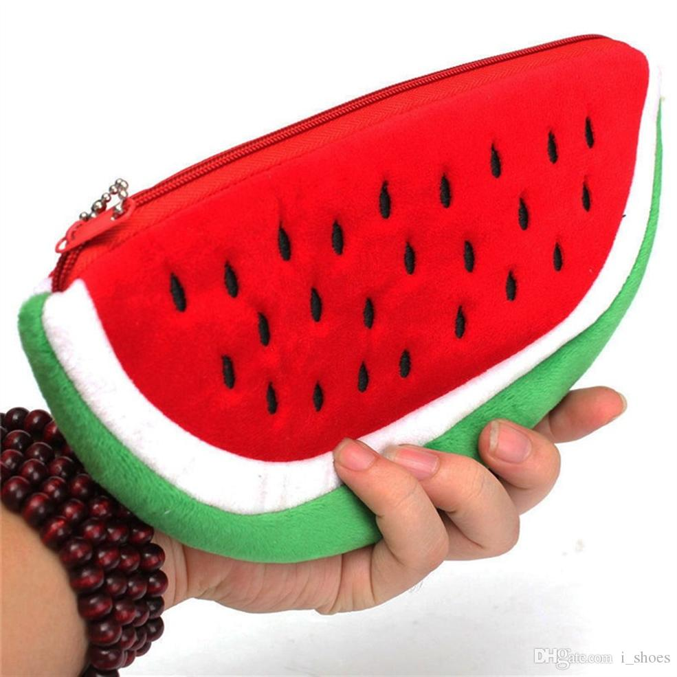 Coin Purses Watermelon Plush Key Coin Wallet Purse Cosmetic Makeup Pouch Phone Pen Bag Canvas Zipper Pouch Girls Children Small Wallet