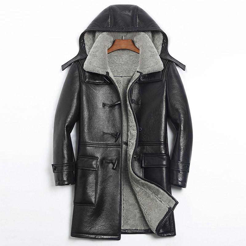 2019 2018 Black Men Long Hood Genuine Casual Shearling Coat Plus