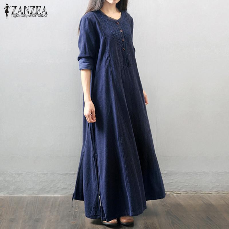 f288f7ea957b9 ZANZEA Women Long Maxi Dress 2016 Long Sleeve Buttons Pockets Vintage  Casual Loose Solid Long Elegant Robe Vestidos Plus Size Y19042401