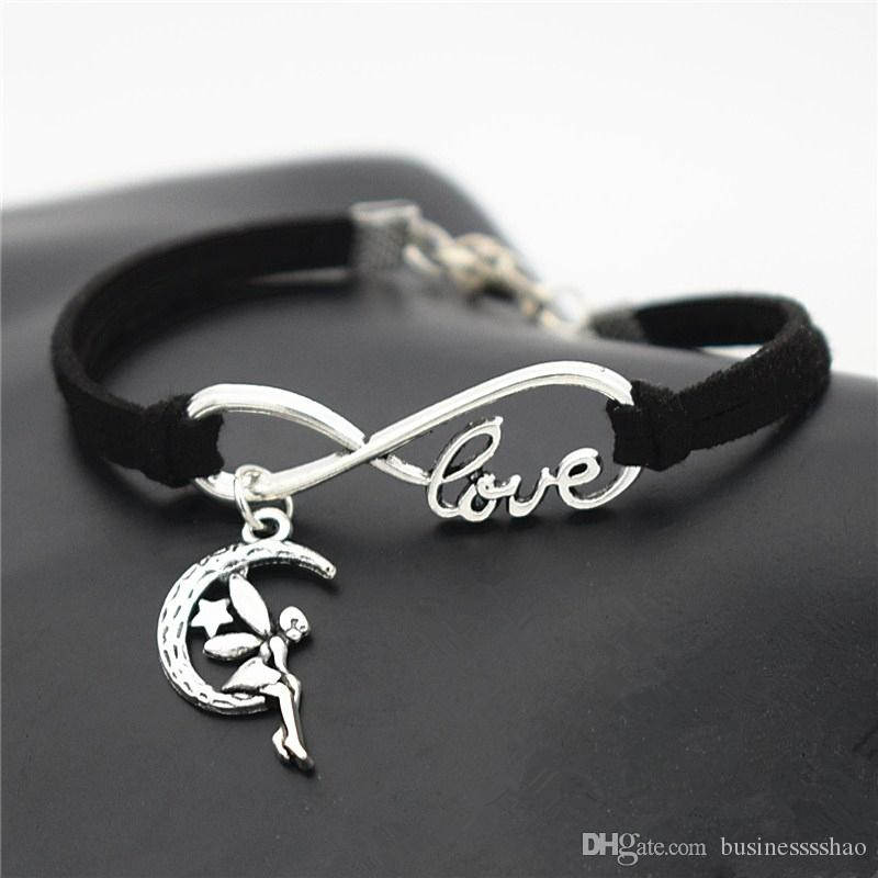 Simple Style Black Braided Leather Suede Men Women Cuff Jewelry Exquisite Infinity Love Cute Moon Star Fairy Angel Bracelets & Bangles Gifts