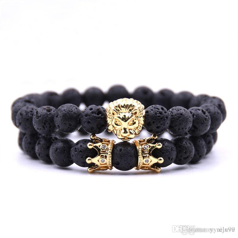 Lava rock Beads Bracelet New Fashion Crown Bracelet Jewelry Gold/Rose Gold Lion Head Bangles Turquoise Buddha Beads Bracelet