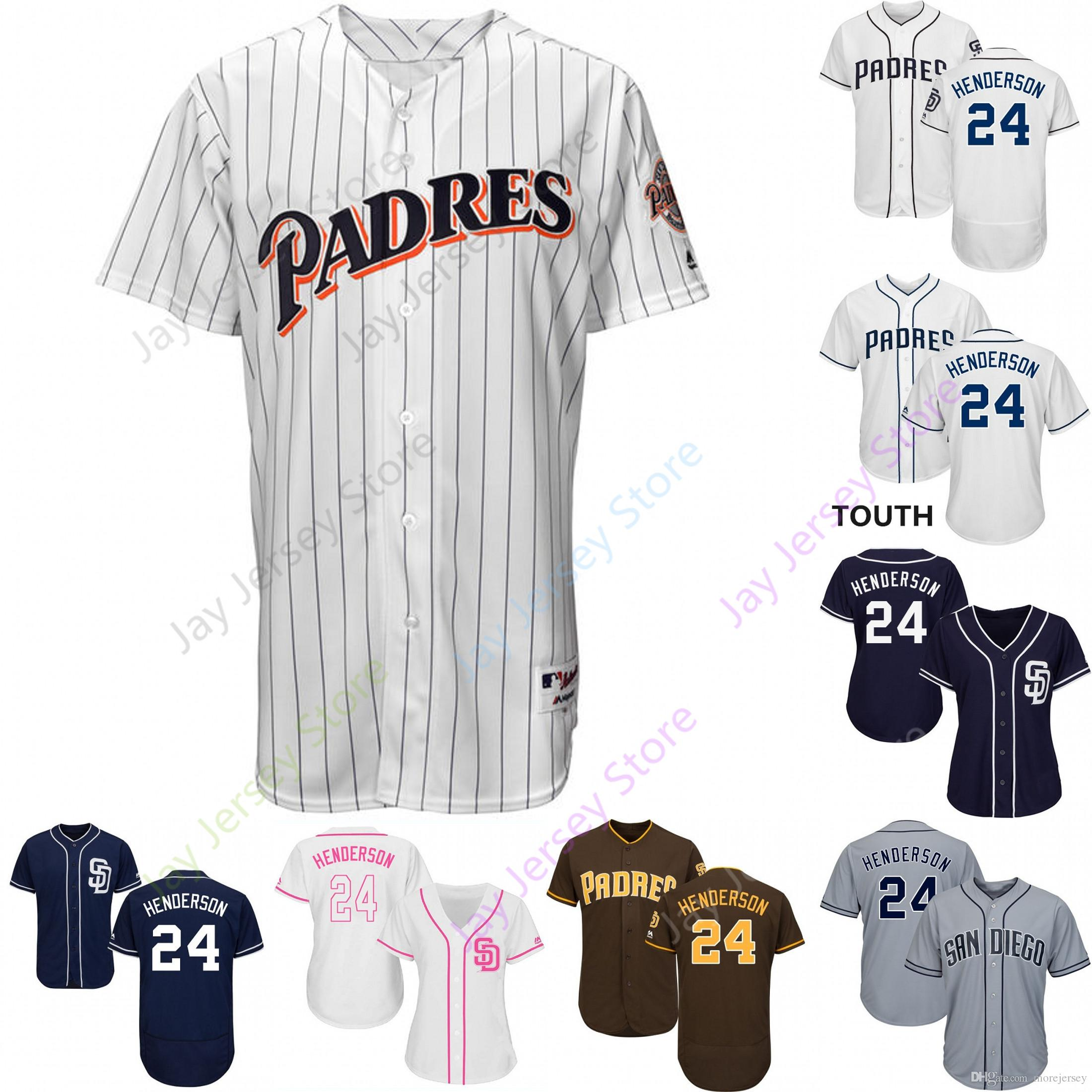 the best attitude 32d32 99dc9 2019 San Diego 24 Rickey Henderson Jersey Padres Jerseys Cool Base Flexbase  Home Away White Black Red Grey Pullover Button Men Women Youth