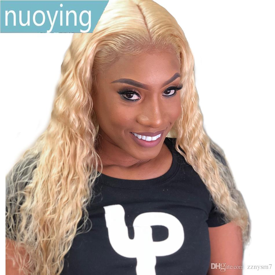 Transparent Honey Blonde Malaysian Curly Lace Front Wig Deep Wave Pre Plucked Human Hair Full Long Lace Frontal Wigs