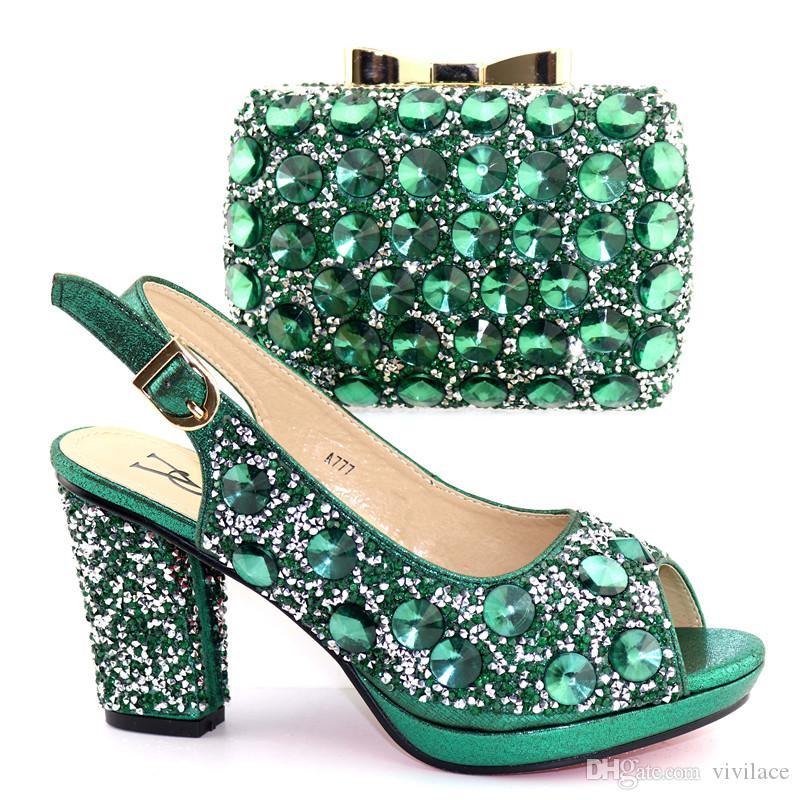 a19ab75a2ba A777-green Italian Shoes And Bag Set African Sets 2019 Italian Ladies Shoes  And Bag Sets African Shoes And Matching Bags Shoes And Bags Set Dress Shoes  Bags ...