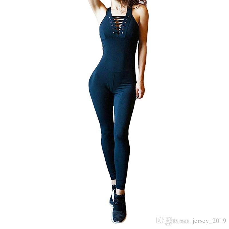 2219d05e637f 2019 Sports Wear For Women Gym Clothing Fitness Gym Yoga Jumpsuit Running Leggings  Pants Athletic Workout Bandage Romper Clothes Set  169889 From ...