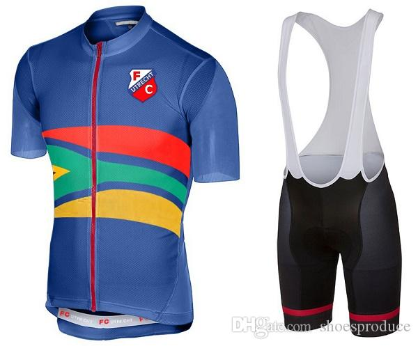 Compre Novo Estilo FC Utrecht Mangas Curtas Ciclismo Jersey Bib Set Homens  Verão MTB Roupas De Bicicleta 9D Gel Pad Bib Shorts Conjuntos De Roupas De  ... 18dae1c857b84