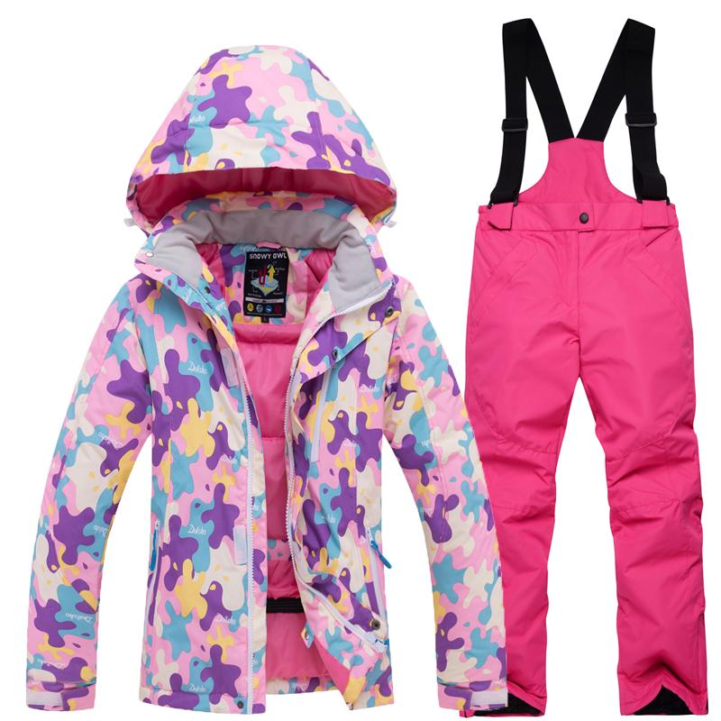 09e6d3b00 Printing Flowers Ski Suits Children Ski Jacket and Pants Girls Kids  Snowboard Jacket and Trousers Kids Snow Clothes Winter Coat
