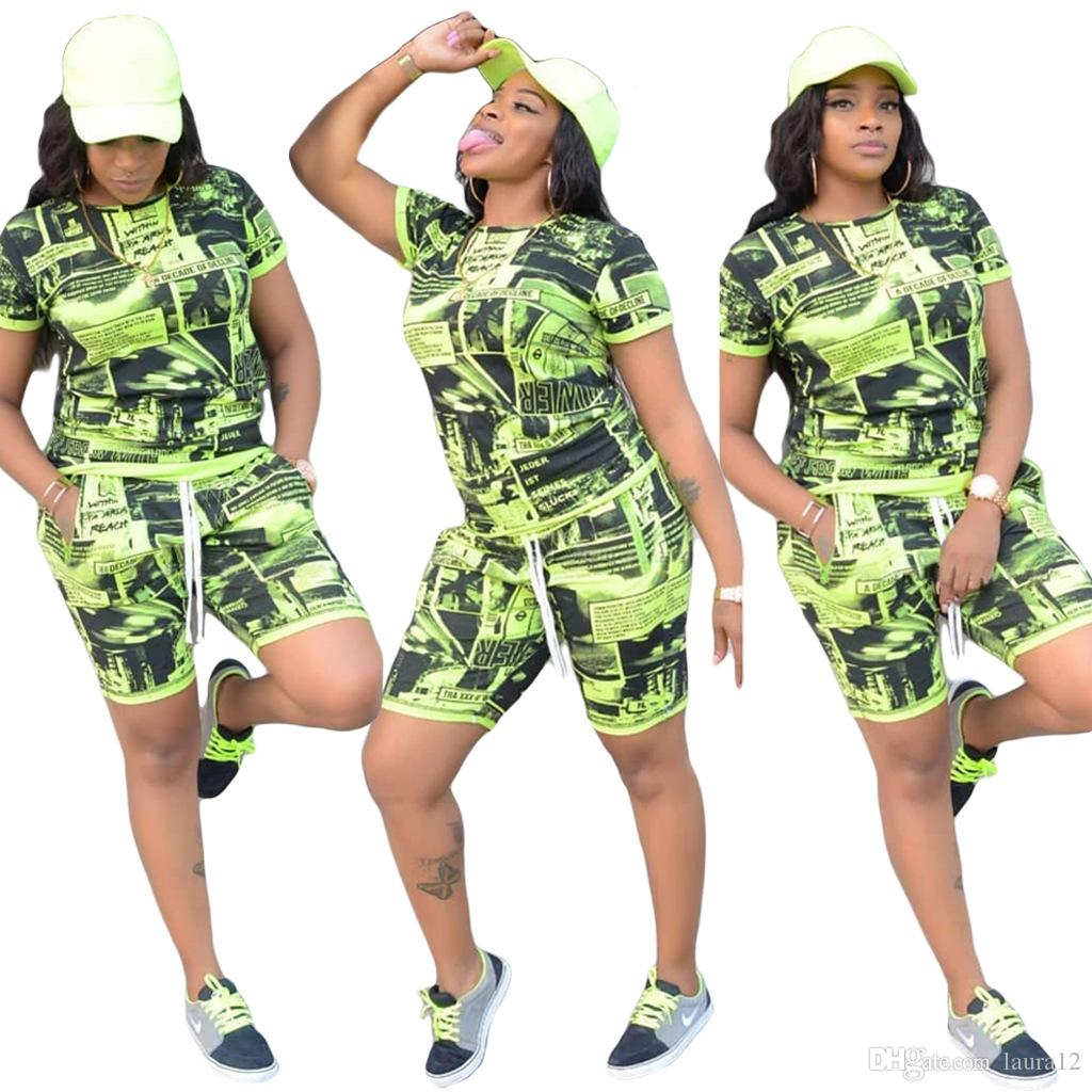 Green and Black Newspaper Pattern Printing Women Tracksuits 2019 Summer Casual Short Sleeves O Neck T Shirt and Shorts Two Pieces Sports Set
