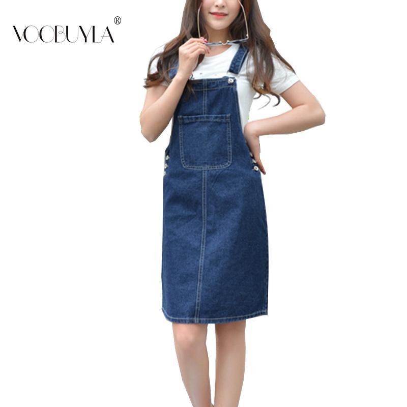 804e463041 Voobuyla Summer Women Denim Dress Sundress Casual Loose Overalls Dresses  Female Solid Adjustable Strap Jeans Dress Plus Size 4XL Y190117