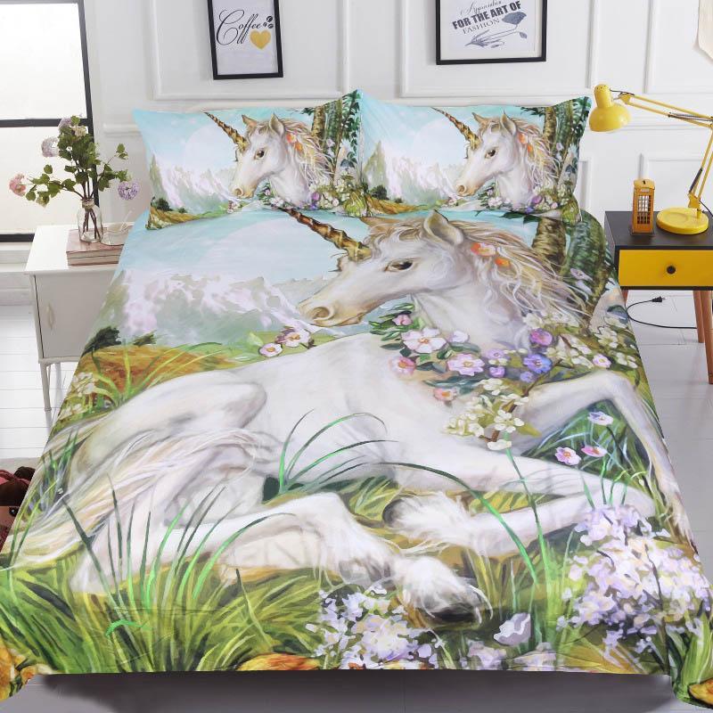 Printed Floral Unicorn Bedding Set Single Double Designer Horse Animal Bedding Sets Bedcloth Duvet Cover Set Hotel Home Textile Home Textile Home & Garden