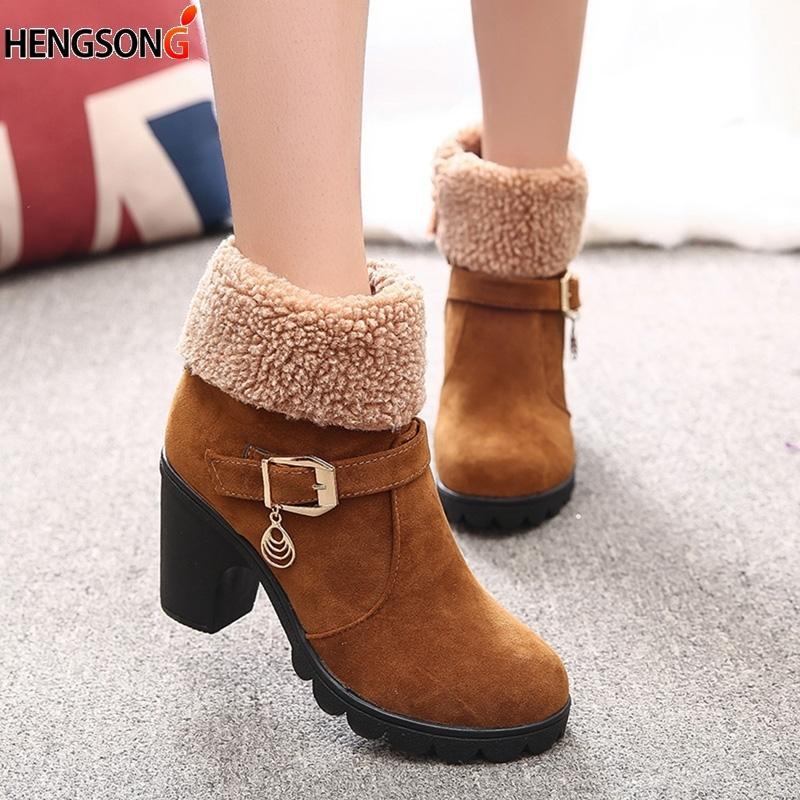 1959501ef60d7 Compre 2019 Nuevo Otoño Invierno Zapatos De Mujer Botines De Felpa Damas  Botas De Mujer Super Tacón Cuadrado De Alta Calidad Botas De Goma A  28.27  Del ...
