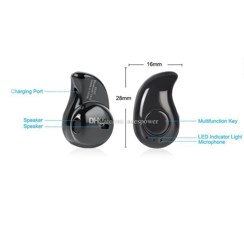 NUEVO S530 Stealth Stealth Stealth Mini Ultra-Pequeño Auricular Estéreo Auriculares Manos libres Auriculares Deportes In-Ear para Samsung Todos los teléfonos móviles
