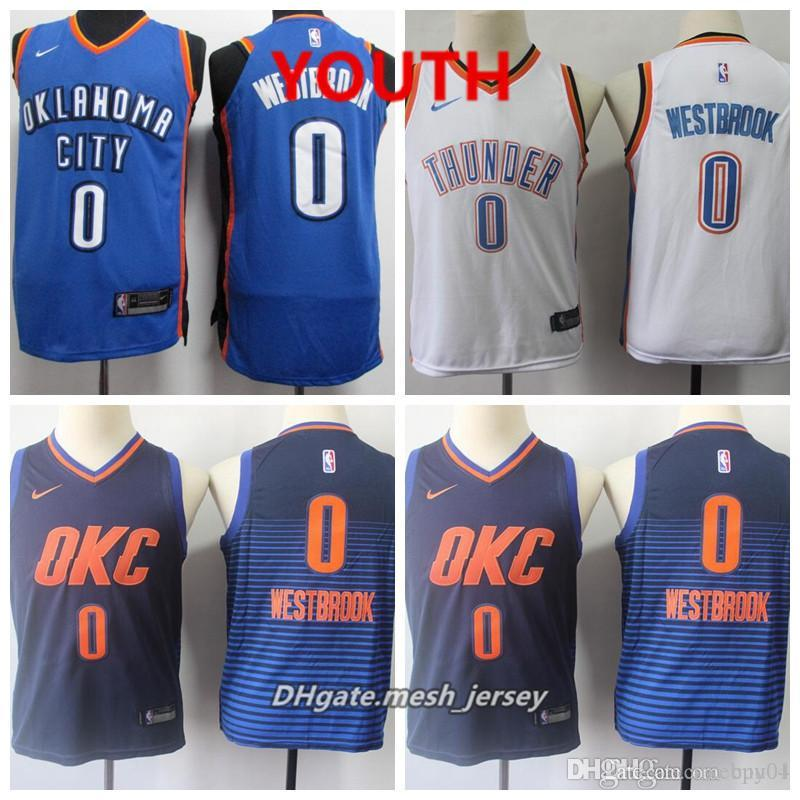 best service d6775 7b615 Youth Oklahoma City Jersey Thunder Russell Westbrook Stitched Baketball  Jerseys S-XL - Blue White