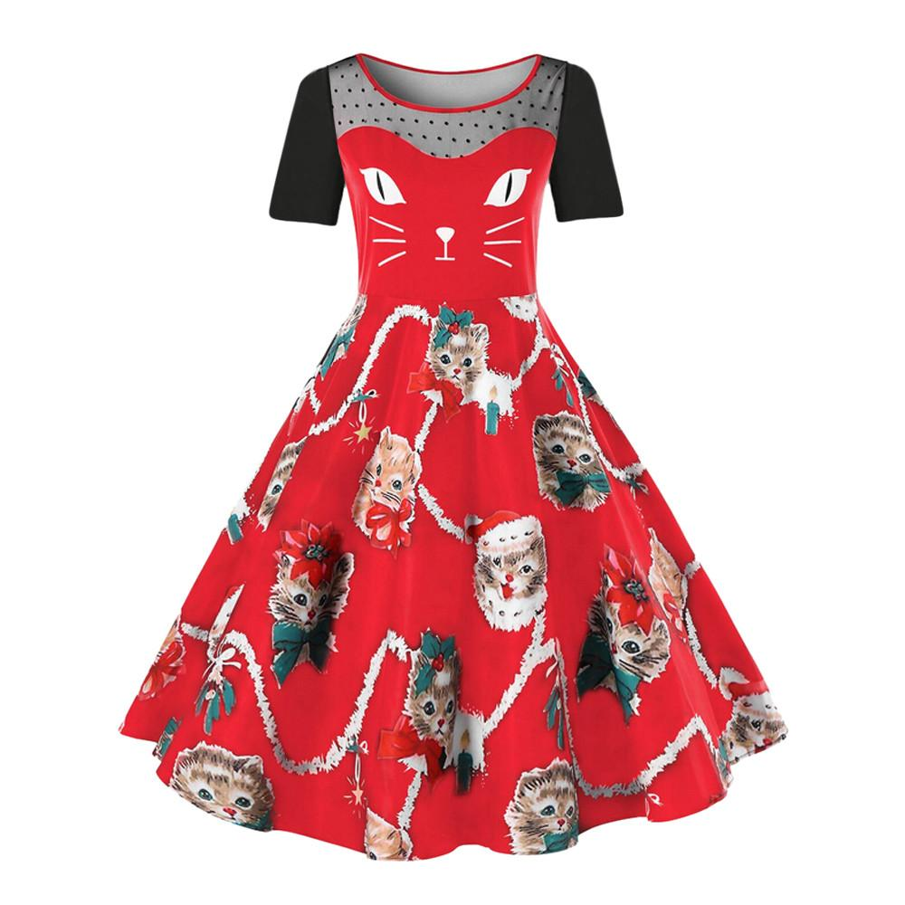 Women Plus Size Christmas Dresses Retro Hepburn Short sleeve vestido Cat  Dress Santa Pattern Party Swing Dress vestidos 5XL 90