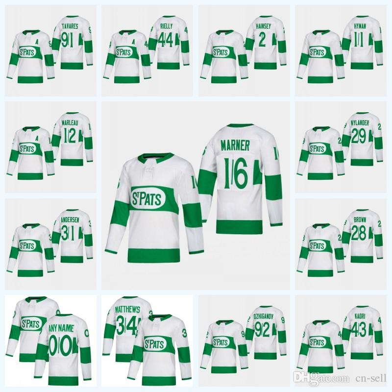 bae73a57c27 Mens Ron Hainsey 2019 Toronto Maple Leafs St. Pat Jersey Andersen ...