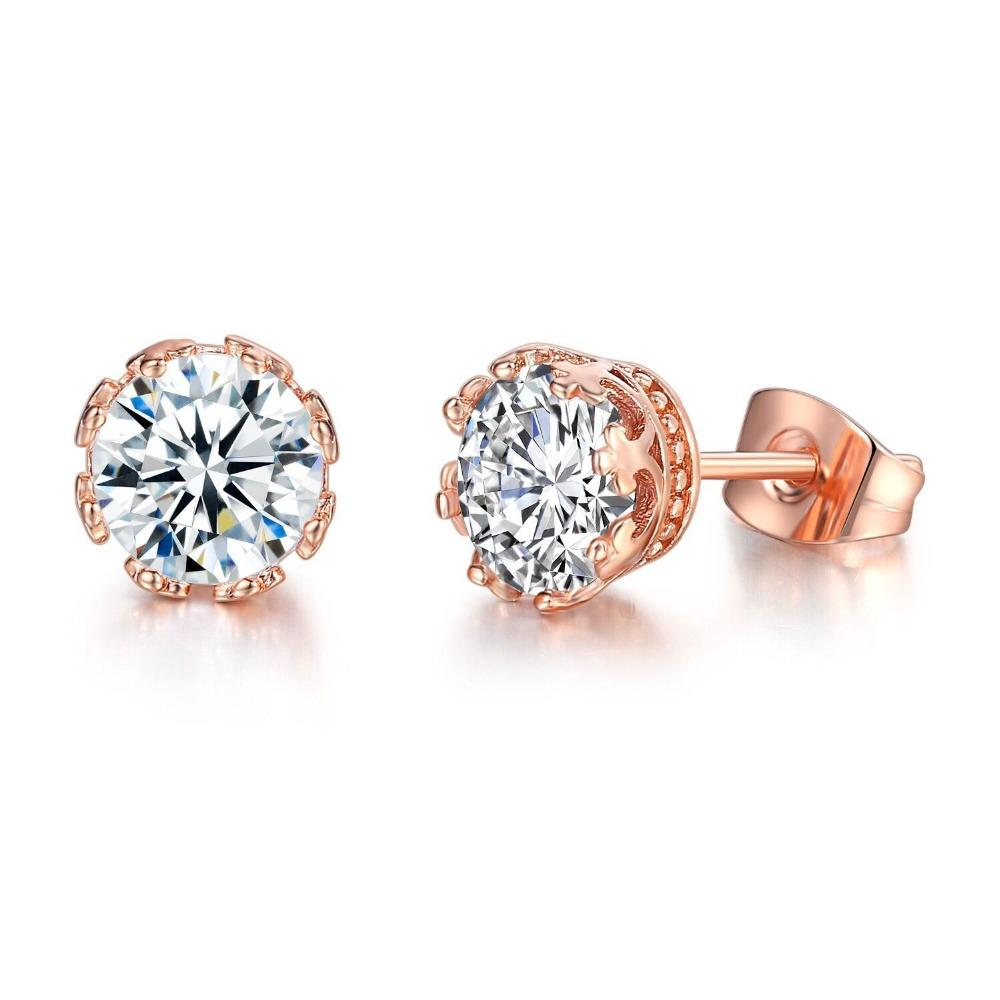 bbf3caad6 2019 MxGxFam Crown Single Stud Earrings For Women Rose Gold Color Shinning Cubic  Zirconia Lead And Nickel Free From Watchesgreat, $36.26 | DHgate.Com