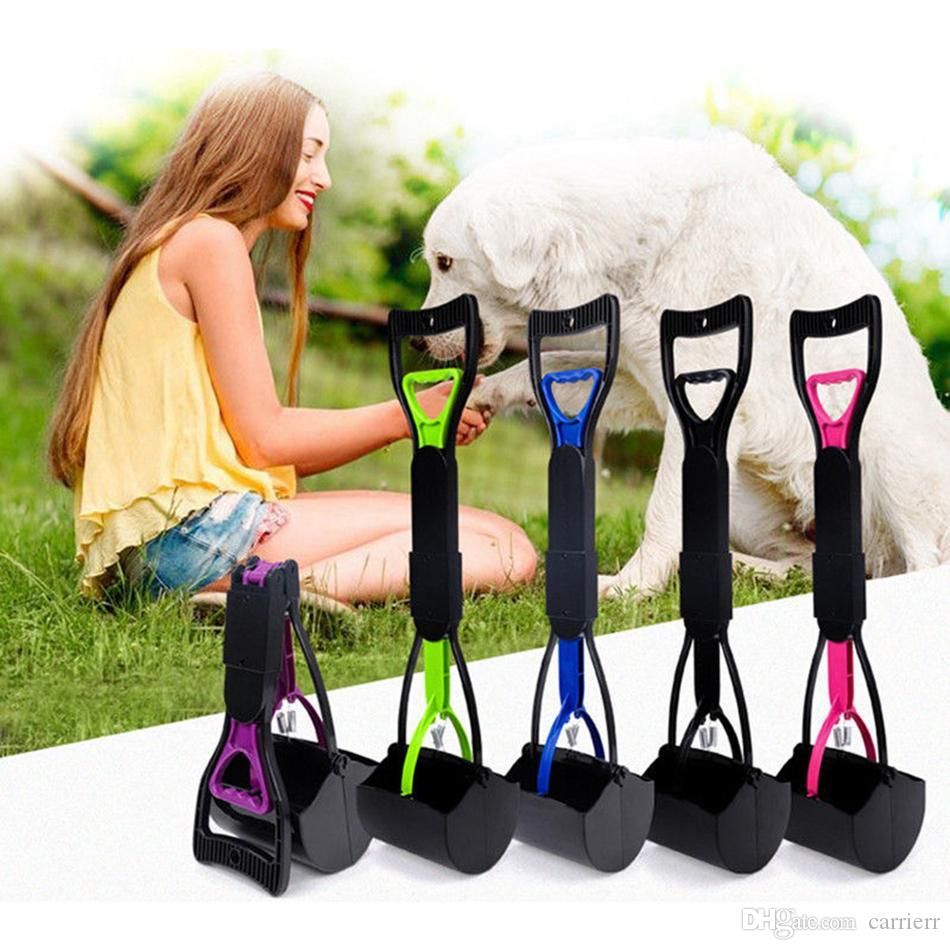 Long Handle Pet Dog Pooper Scooper Cleaning Pick Up Grabber Remover Tools Plastic Poop Scoopers For Dogs zhao