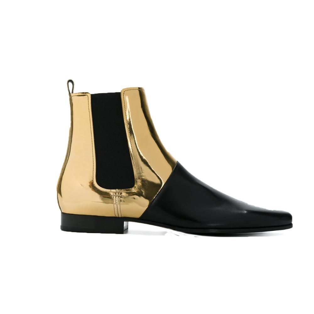 f4059774016a0f Gold Bright Leather Patchwork Man Boots Pointed Toe Casual Men Ankle Boots  Slip On Low Heel Fashion Soft Men Shoes